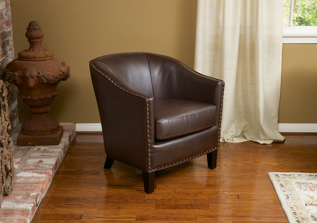 carlton brown bonded leather club chair contemporary