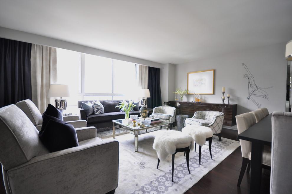 Living room - large contemporary dark wood floor living room idea in Toronto