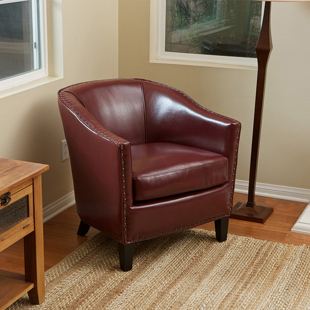 Carlton Red Leather Club Chair Modern Living Room