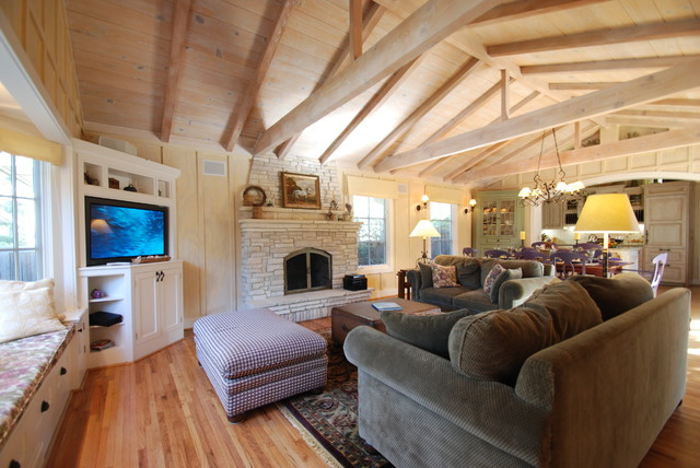 Carmel cottage great room traditional living room for Traditional great room designs