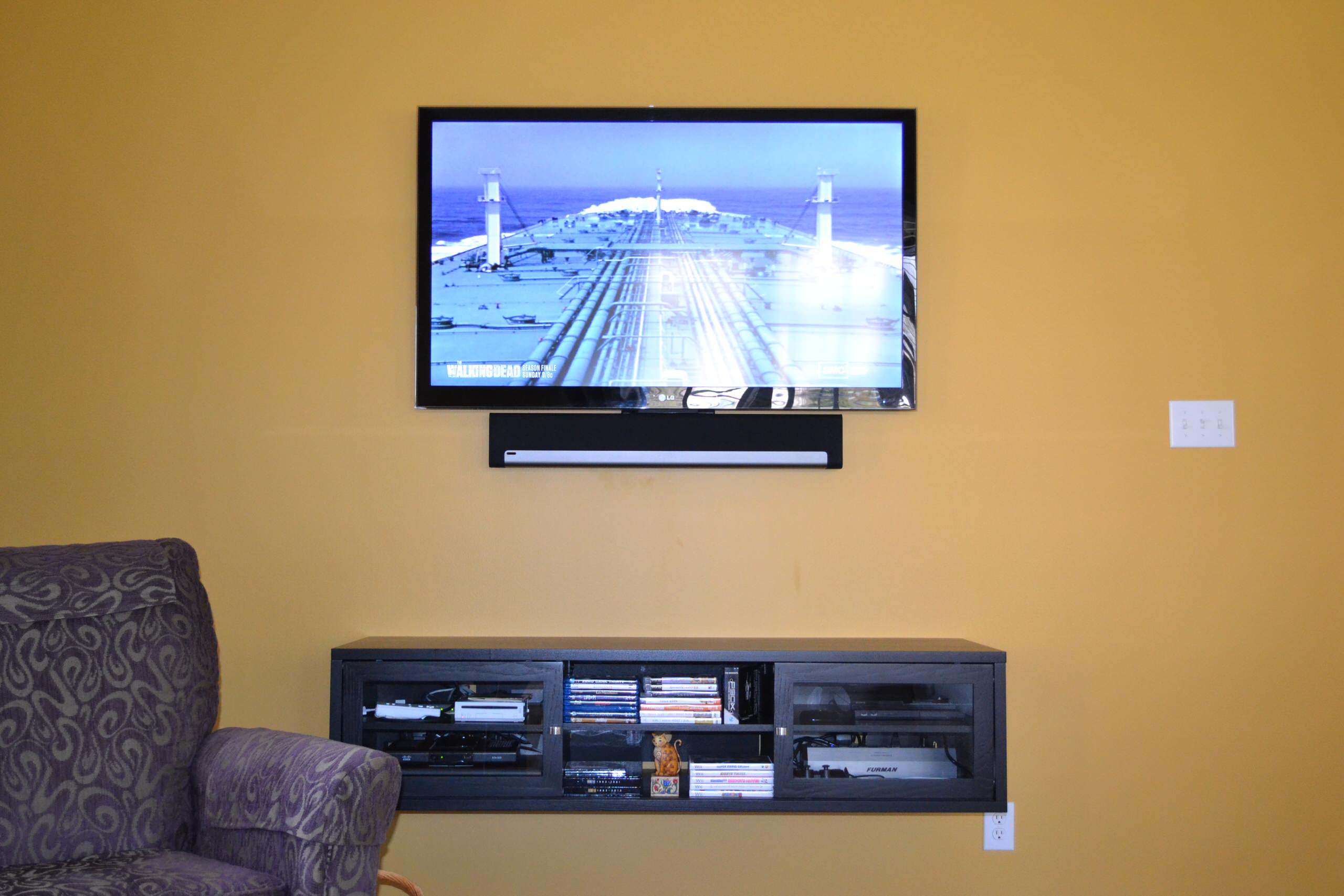 "Carmel, IN - 55"" Mounted TV Panel, SONOS & Floating Furniture"
