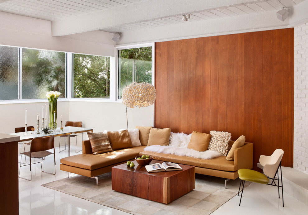 1950s open concept living room photo in San Francisco