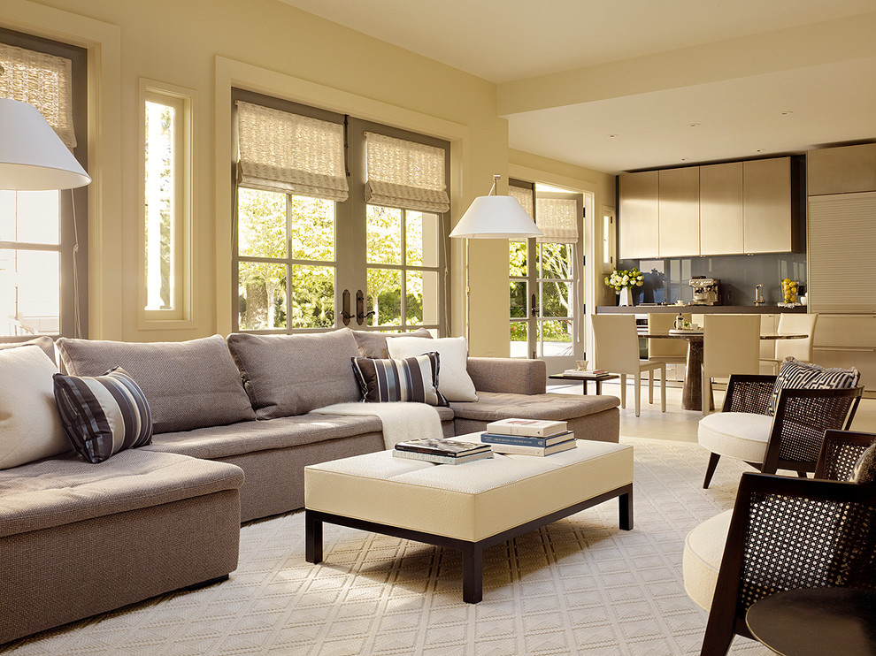 Living room - contemporary open concept living room idea in San Francisco with beige walls