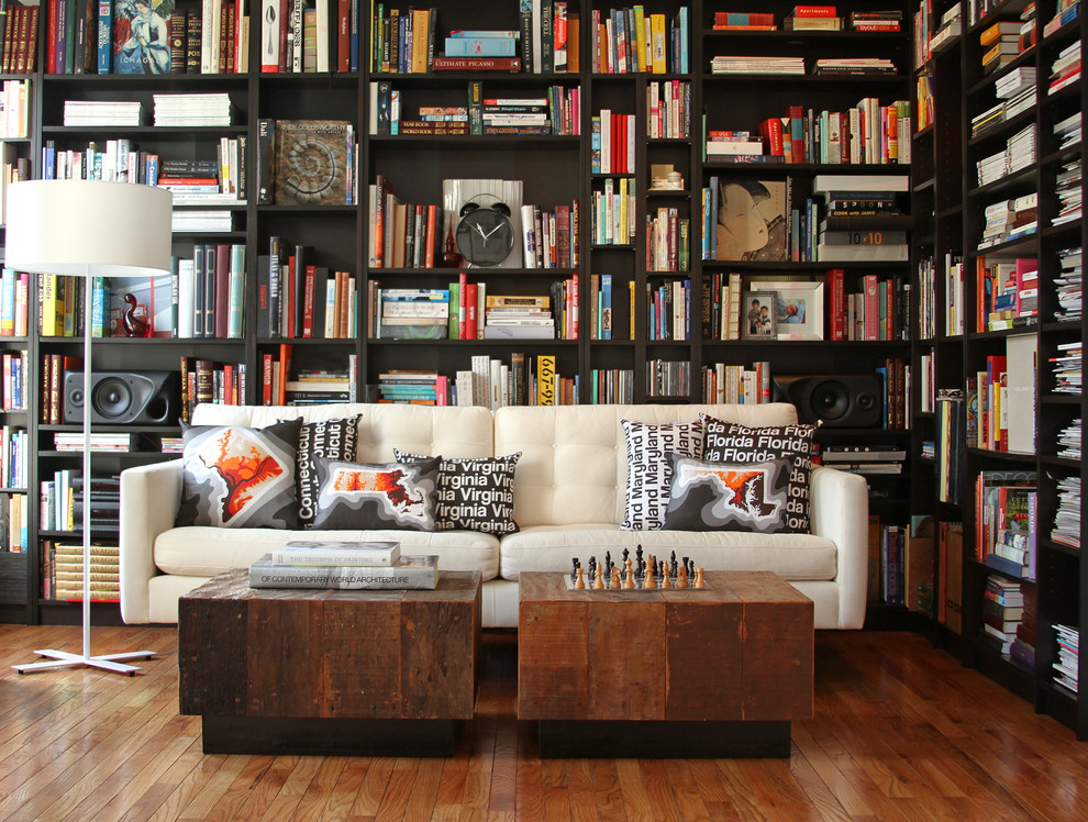 Inspiration for a contemporary living room library remodel in DC Metro