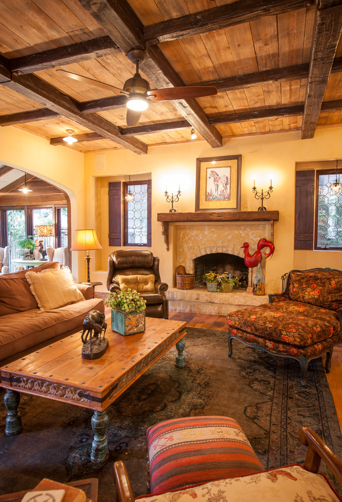 Example of a mountain style living room design in Dallas