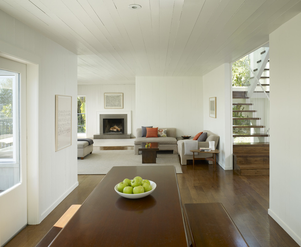 Living room - transitional living room idea in San Francisco with white walls and a standard fireplace