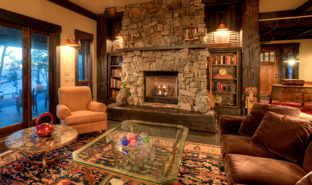 Living Room With Stone Fireplace Rustic Living Room Seattle By