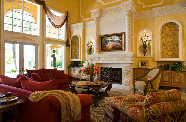 Example Of A Classic Living Room Design In Miami With A Stone Fireplace