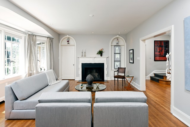 gray paint living room. Inspiration for a timeless brown floor living room remodel in DC Metro with  standard fireplace Light Grey Paint Color Houzz