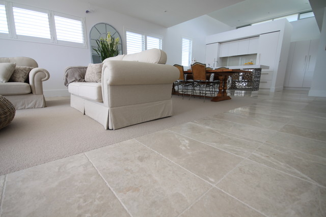 Living Room Flooring cashmere marble flooring - contemporary - living room - sydney