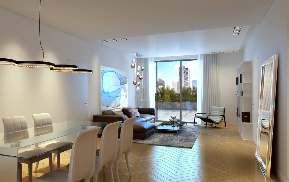 Living room - mid-sized modern open concept light wood floor and beige floor living room idea in Miami with white walls, no fireplace and a media wall