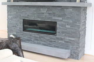 Cast Stone Fireplace Surrounds Modern Living Room