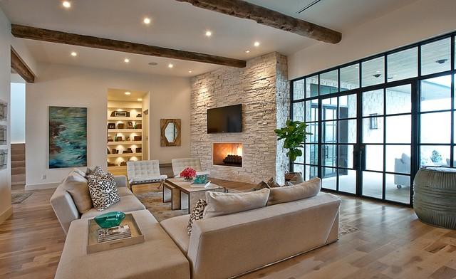 Cat Mountain, Greenbelt Homes, Austin TX transitional-living-room