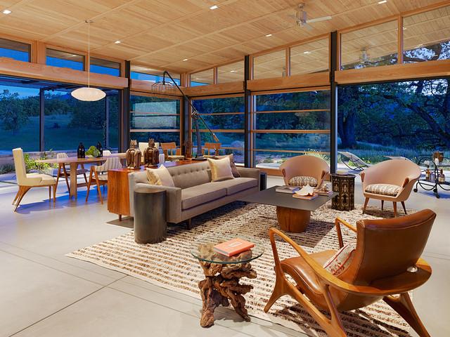 Caterpillar House midcentury-living-room