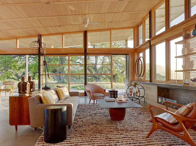 Caterpillar House midcentury living room