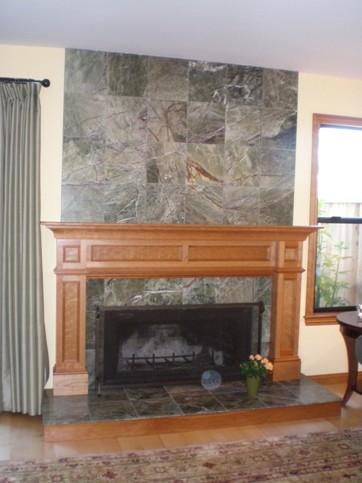Caulfield mantel mediterranean-living-room
