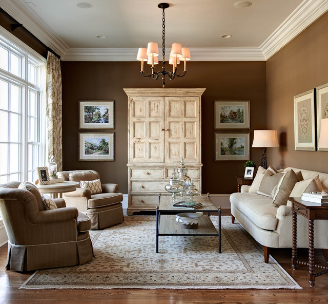 Beau Elegant Formal Medium Tone Wood Floor And Brown Floor Living Room Photo In  Charlotte With Brown