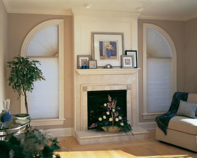 Cellular shades cover all types of windows traditional for Types of living room windows