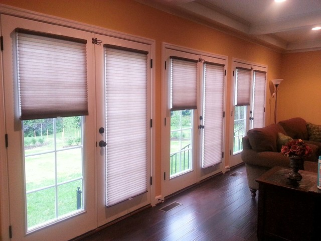 Cellular Shades On French Doors Contemporary Living Room