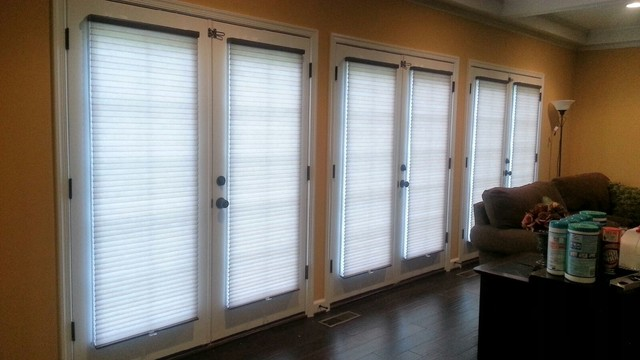 Cellular Shades on French doors contemporary-living-room : door shades - Pezcame.Com