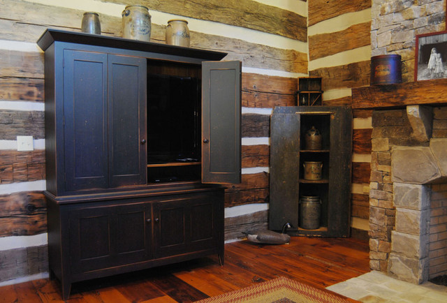 Central Kentucky Log Cabin Primitive Kitchen - Eclectic - Living Room - louisville - by The ...