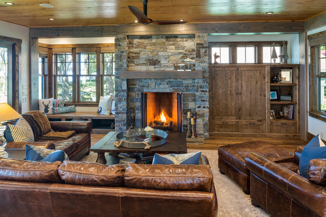 Central minnesota lake home rustic living room minneapolis by charlie co design ltd for The living room minneapolis mn