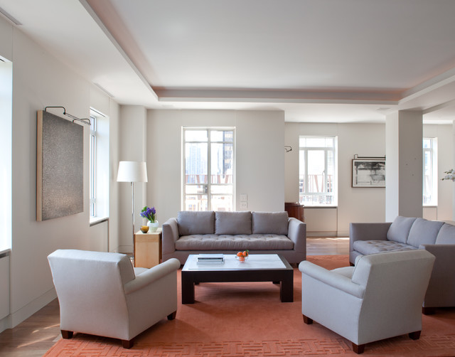Central Park West Apartment transitional-living-room