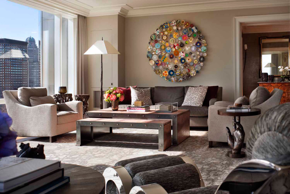 Trendy living room photo in New York with beige walls