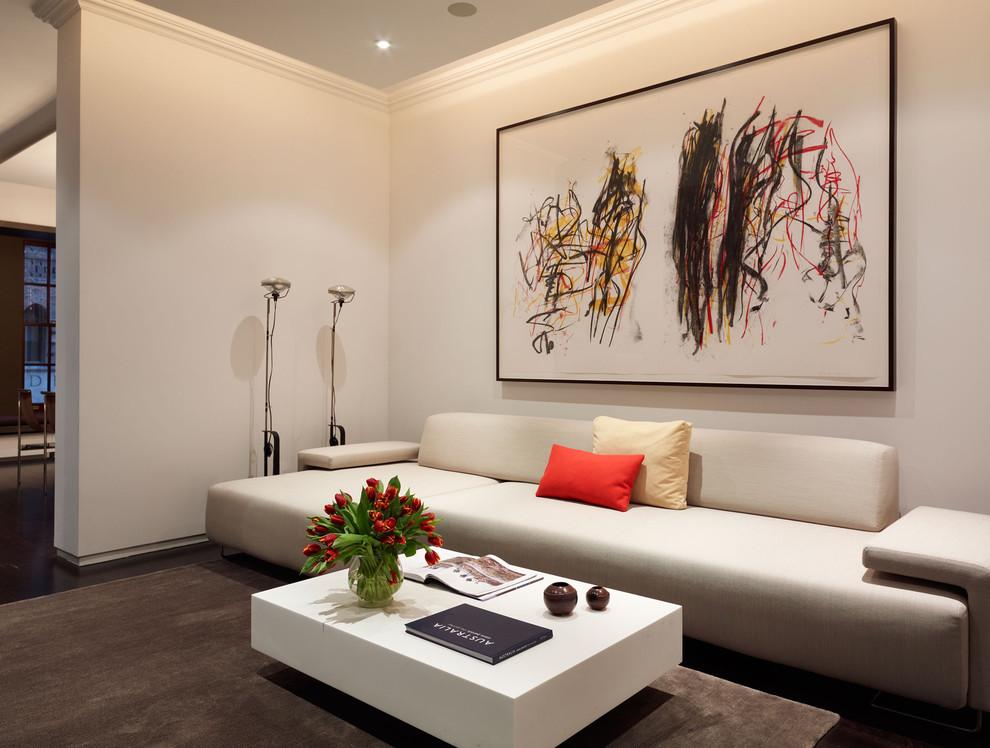Example of a minimalist brown floor living room design in New York