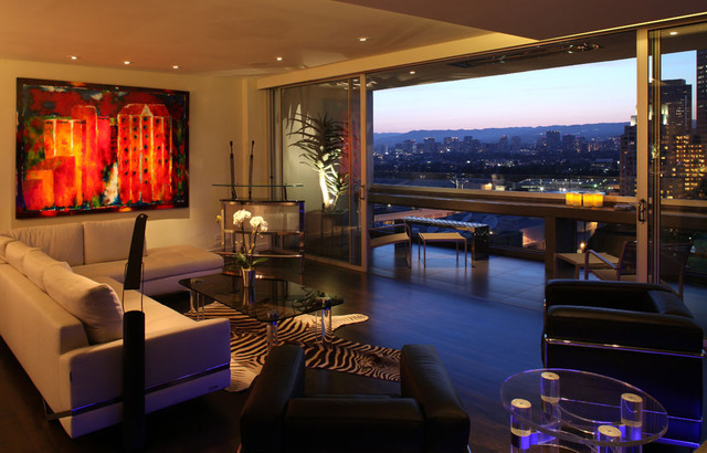Century towers residence modern living room los for Family room los angeles