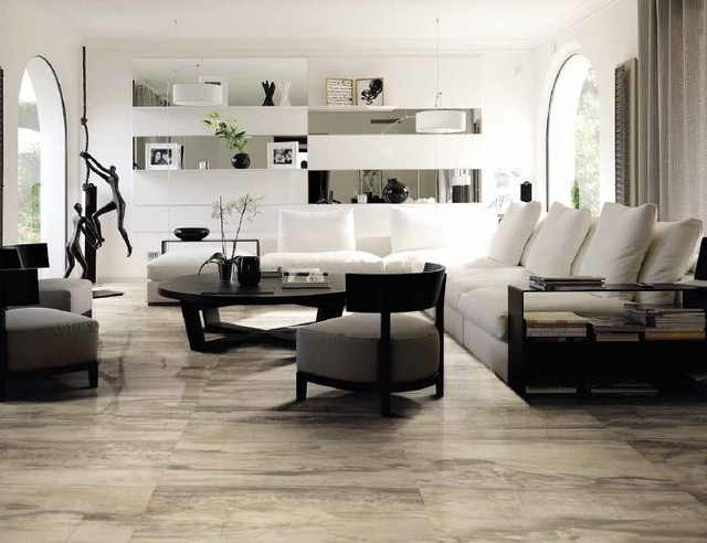 Ceramic porcelain tile ideas contemporary living for Tile floor designs for living rooms