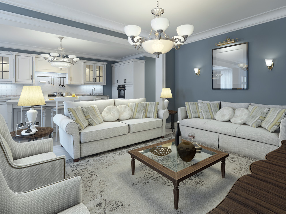Inspiration for a large transitional open concept living room remodel in Miami with blue walls and no tv