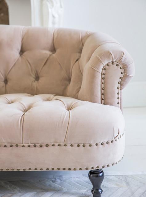 Chablis & Roses Blush Pink Velvet Chesterfield Sofa ...