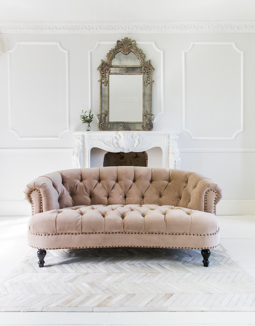 Chablis roses blush pink velvet chesterfield sofa traditional living room sussex by Bedroom furniture chesterfield
