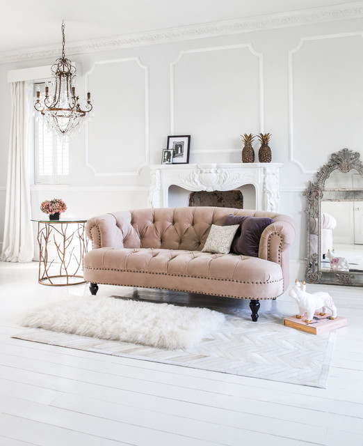 chablis rose pink velvet chesterfield sofa traditional living room sussex by the. Black Bedroom Furniture Sets. Home Design Ideas