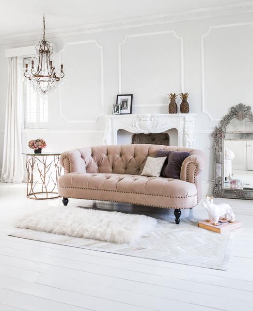 Chablis Amp Rose Pink Velvet Chesterfield Sofa Traditional