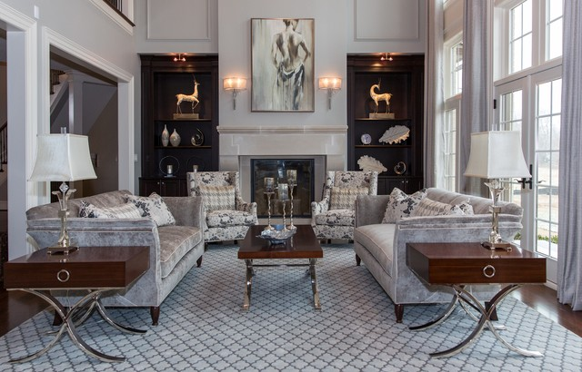 Gray And White Transitional Rustic Living Room With: Champagne & Grey Elegant Living Room