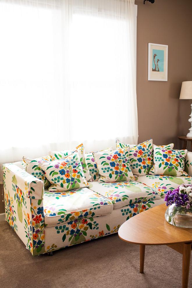 Elegant living room photo in San Luis Obispo with beige walls