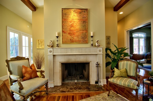 French Country Living Room Fireplace Rustic Living