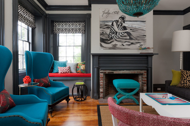 Gentil Inspiration For An Eclectic Enclosed Light Wood Floor Living Room Remodel  In Boston With A Brick