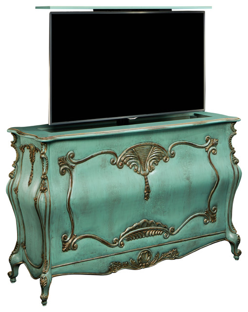 Chateau French Provincial Tv Lift Furniture Cabinet Downton Abbey Type Finish Transitional