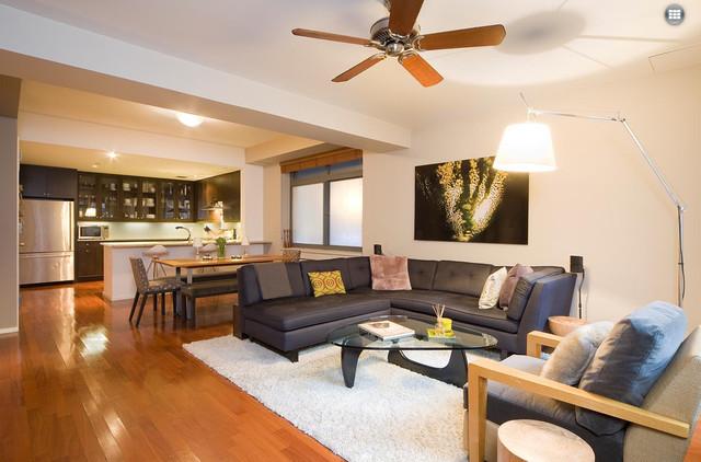 Chelsea duplex contemporary living room new york for Duplex house living room designs