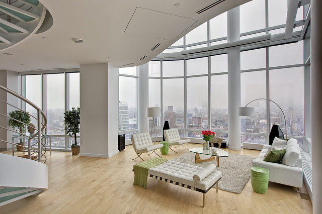 Chelsea duplex penthouse modern living room new york for Living room nyc