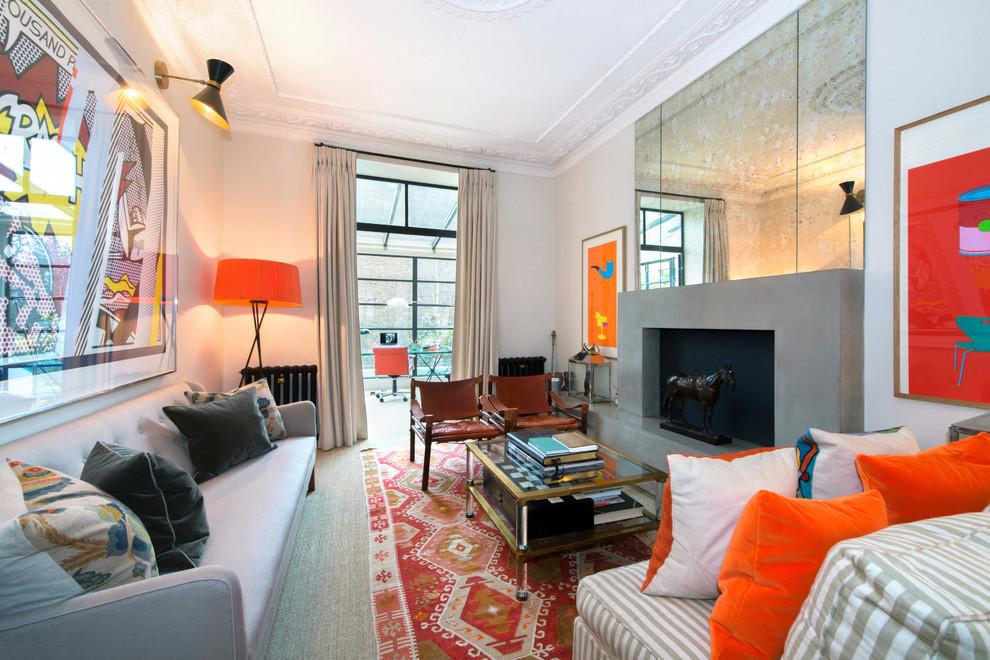 Trendy gray floor living room photo in London