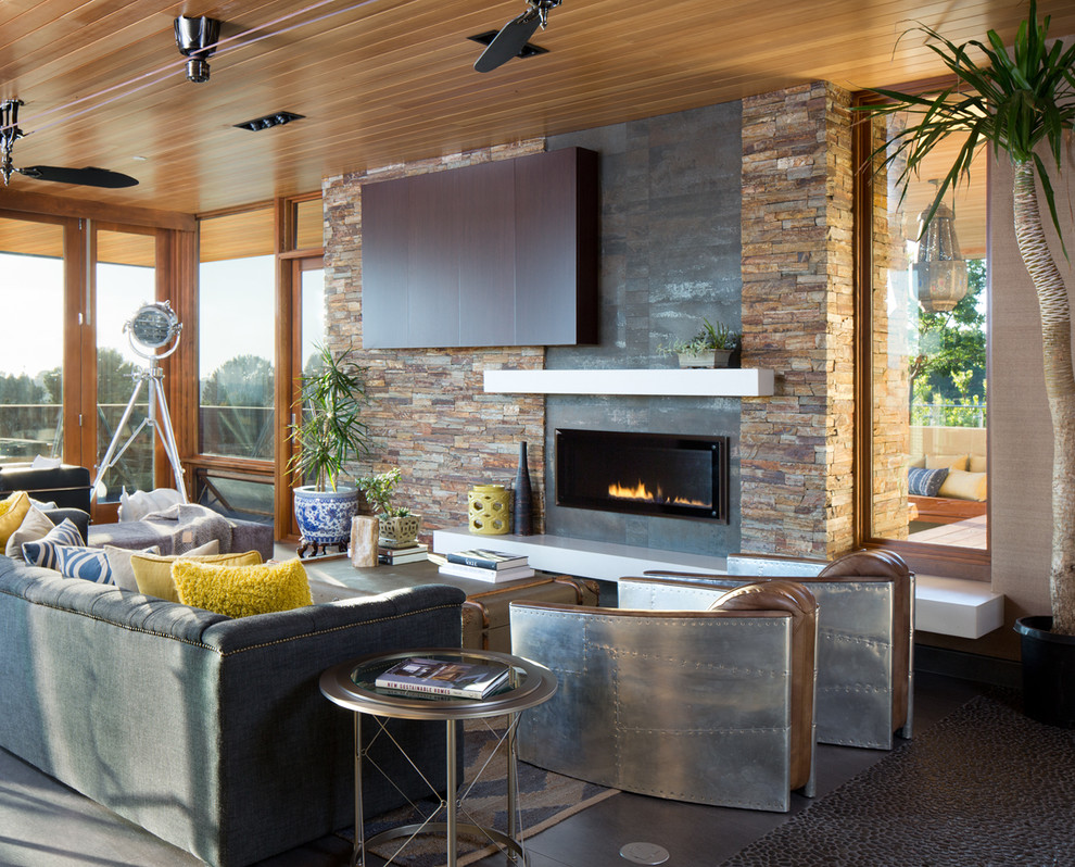 Living room - contemporary living room idea in San Diego with a ribbon fireplace