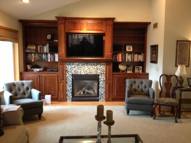 Cherry fireplace traditional living room minneapolis by country cabinets for How to decorate a traditional living room