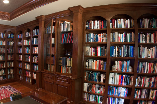 Cherry Library Bookcases Traditional Living Room