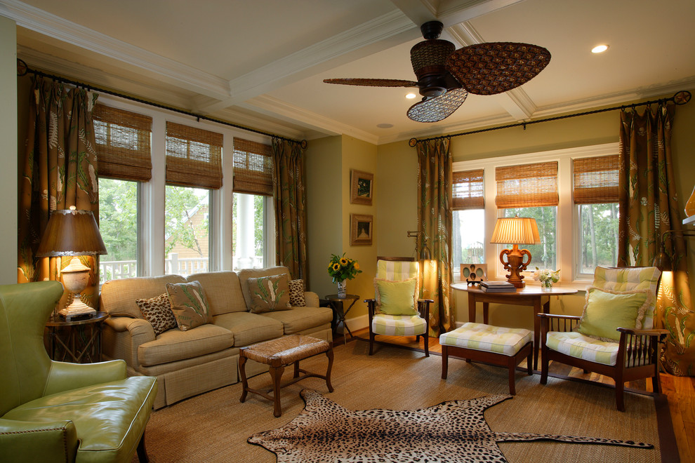 Example of a beach style living room design in Philadelphia