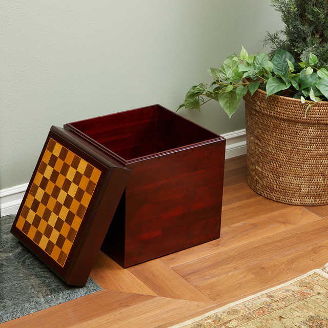 Chessboard Top Wooden Storage Ottoman Modern Living Room