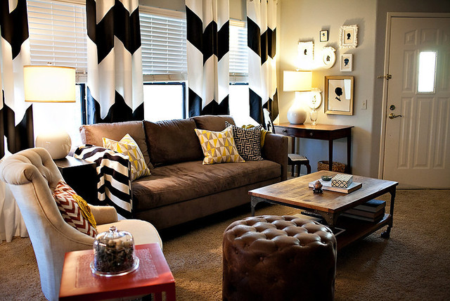 Chevron Curtains in an Eclectic Living Room eclectic-living-room